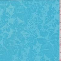 Turquoise Floral Satin Jacquard