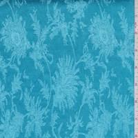 Turquoise Fringe Floral Satin Jacquard