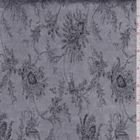 Silver Fringe Floral Satin Jacquard