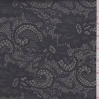 Sterling/Black Floral Satin Jacquard