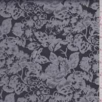 Silver/Slate Floral Garden Satin Jacquard