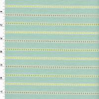 *1 YD PC--Light Blue/Yellow/Orange/Beige/White Striped Embroidered Woven Home Decorating Fabric