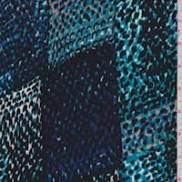 Aqua/Cobalt Snakeskin Patchwork Sweater Knit