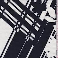 Navy Modern Plaid/Floral Liverpool Knit