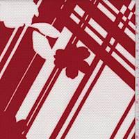 Crimson Modern Plaid/Floral Liverpool Knit