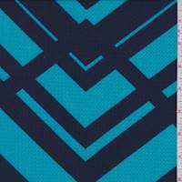 Aqua/Blue Abstract Chevron Liverpool Knit