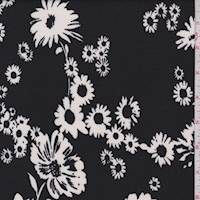 Black/White Tossed Floral Pique Liverpool Knit
