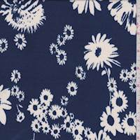 Blue/White Tossed Floral Pique Liverpool Knit