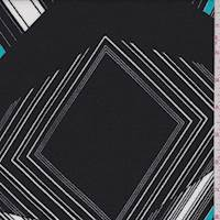 Black/White/Aqua Art Deco Crepe Liverpool Knit