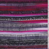 *2 1/2 YD PC--Cherry/Black/Lilac Southwest Stripe Rayon Challis