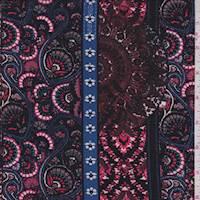 *2 7/8 YD PC--Wine Red Deco Stripe ITY Jersey Knit