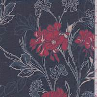 *2 1/2 YD PC--Navy/Red Carnation Chiffon
