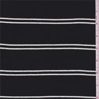 *7/8 YD PC--Black/White Double Stripe Jersey Knit