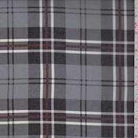 *3 1/8 YD PC--Granite/Black Plaid Georgette