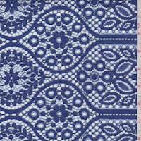 *3 YD PC---Orient Blue Floral Ogee Lace