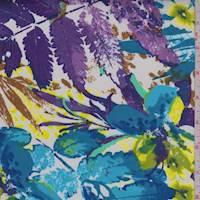 *5/8 YD PC--White/Aqua Multi Tropical Floral Sateen