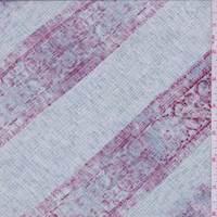 *7/8 YD PC--Pale Blue/Berry Faded Stripe Silk Crepe de Chine