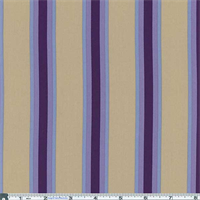 *2 YD PC--Khaki/Purple Bungalow Stripe Decor Cotton Twill