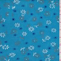 *3 YD PC--Aqua Tossed Floral Slinky Knit