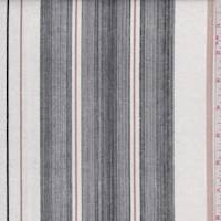 *3 1/8 YD PC--White/Black/Tan Stripe Linen Blend