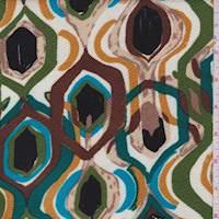 *1 YD PC--White/Brown Modern Liverpool Knit
