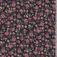 *6 1/4 YD PC--Black/Rose Mini Floral Georgette