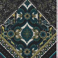 *3 1/8 YD PC--Black/Teal/Yellow Baroque Tile ITY Jersey Knit