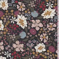 *4 1/2 YD PC--Black Multi Whimsical Floral Chiffon