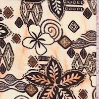 *1 YD PC--Cream/Brown Tribal Floral Cotton Poplin