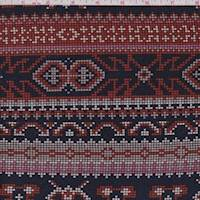 Navy/Orange/Pink Pixelated Stripe Crepe Knit