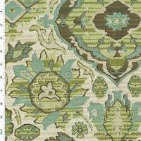 *1 YD PC--Green/Beige Floral Jacquard Home Decorating Fabric