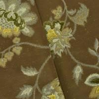*1 YD PC--Deep Avocado Green/Multi Floral Jacquard Decor Fabric