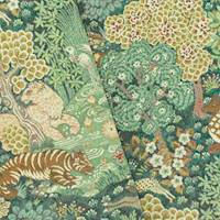 *1 YD PC--Green/Brown/Multi Animal Landscape Tapestry Decor Fabric