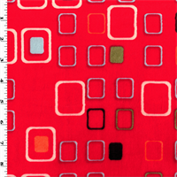 *2 YD PC--Red/Multi Square Minky