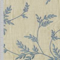 *12 YD PC--Victorian Blue/Beige Leaf Vine Embroidered Decorating Fabric