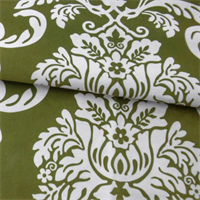 *4 1/2 YD PC--Morgan Green/White Reanna Print Velveteen Decorating Fabric