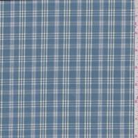 *2 3/8 YD PC--Teal Check Plaid Cotton Shirting