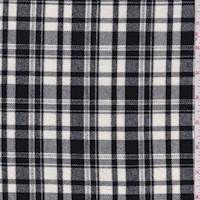 *1 3/4 YD PC--White/Black Plaid Flannel