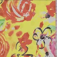*3 5/8 YD PC--Yellow Modern Floral Jacquard Chiffon