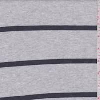 *2 1/4 YD PC--Heather Grey/Charcoal Stripe Interlock Knit