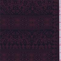 *2 1/4 YD PC--Black/Cranberry Patchwork Scroll Crepe de Chine