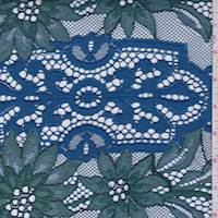 *2 YD PC--Dark Teal/Blue Iris Floral Jacquard Lace