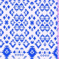 *1 1/4 YD PC--White/Sky Blue Southwest Diamond Tencel Jersey Knit