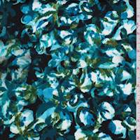 *1 1/2 YD PC--Midnight/Teal Mottled Floral Sateen