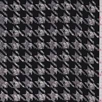 *4 3/8 YD PC--Black/Nickel Houndstooth Rayon Challis