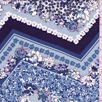 *1 3/8 YD PC--Dusty Blue Floral Chevron Rayon Challis