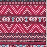 Maroon/Coral Deco Stripe Activewear/Swimwear