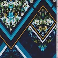 Navy/Aqua Geo Floral Activewear Knit