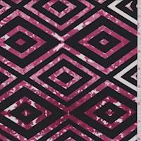 Black/Berry Diamond Floral Activewear Knit
