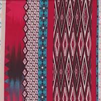 Coral/Maroon Deco Stripe Activewear/Swimwear